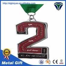 Custom Letter Enamel Running Medal / The Second Prize Sports Medal