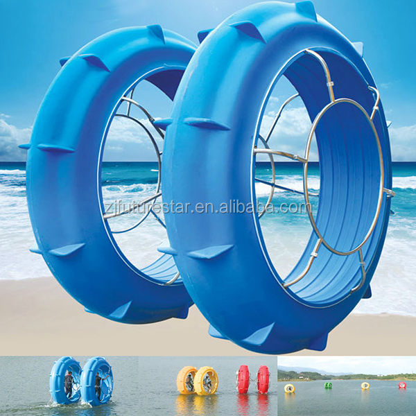 2014 innovative two hollow LLDPE wheels water bike without rudder and paddle