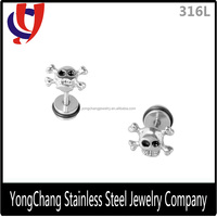 Personalized castting 316L stainless steel stud earrings with a skull and two bone for ear piercing for discount