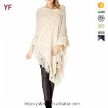 white women knit sweater knitting fur poncho
