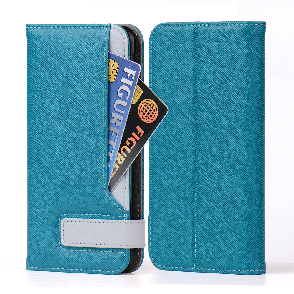 Cheap 2 in1 separate blue pu +pc leather wallet phone case for iphone 5
