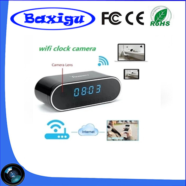 Cheapest Top Sell WiFI Clock Camera with 1280X720P Night Vision Pinhole Spy Hidden WiFi IP Table Camera Clock