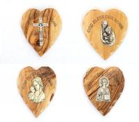 olive wood heart shape magnet with cross,holy family,virgin Mary with baby Jesus,Jesus christ