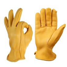 Salable hight grade grain deerskin leather working safety hand gloves