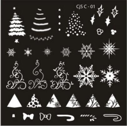 wholesales New #CJS Christmas design Manicure printing plate Christmas nail stamp plate Nail Art Stamping Image Plates