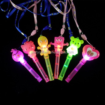 cartoon shaped LED flashing toy whistle for children,lighting whistle