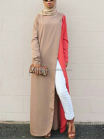 Muslim Women Long Sleeves Contrasting Maxi Blouse(16042202)