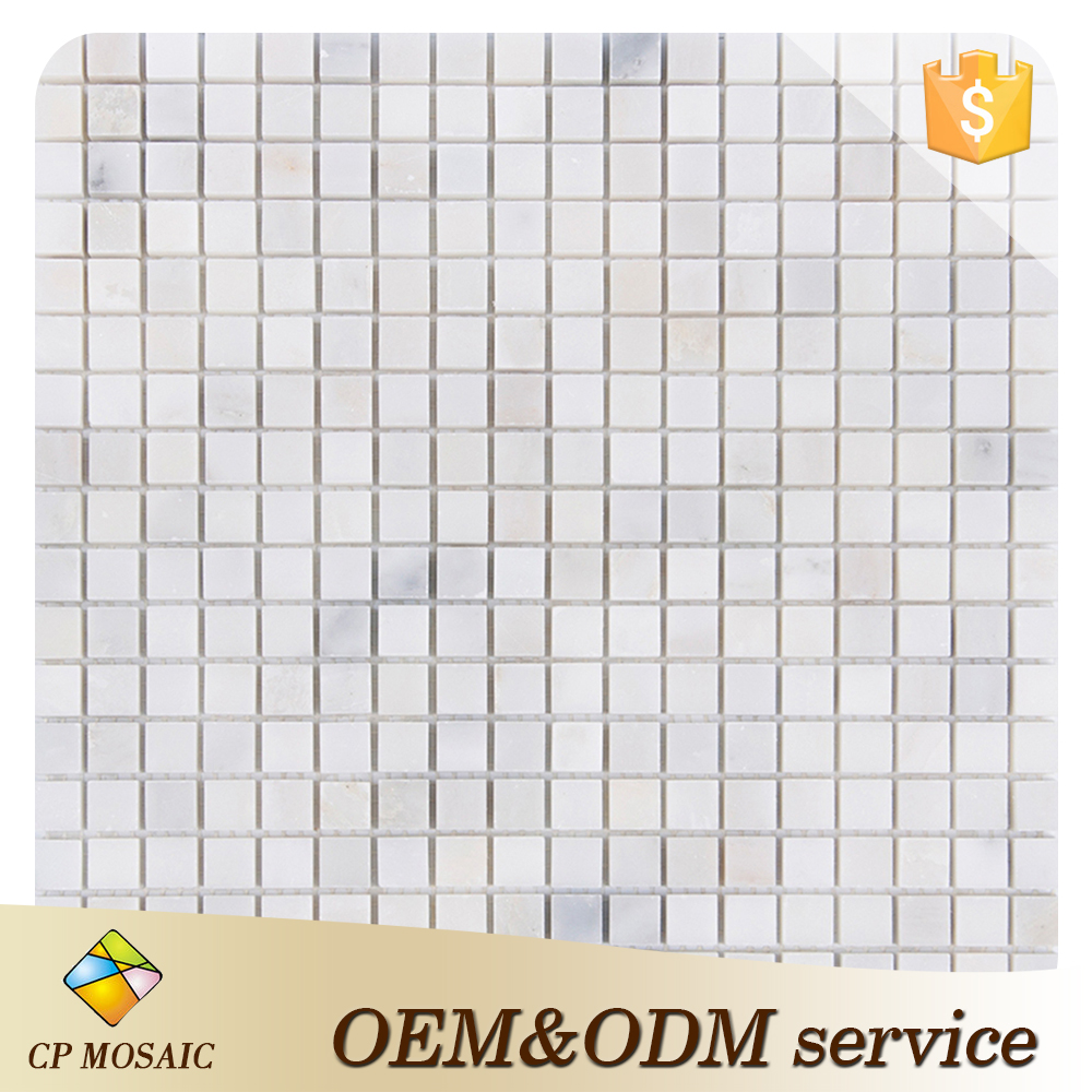 White Polished Marble Mosaic Square Bathroom Tile