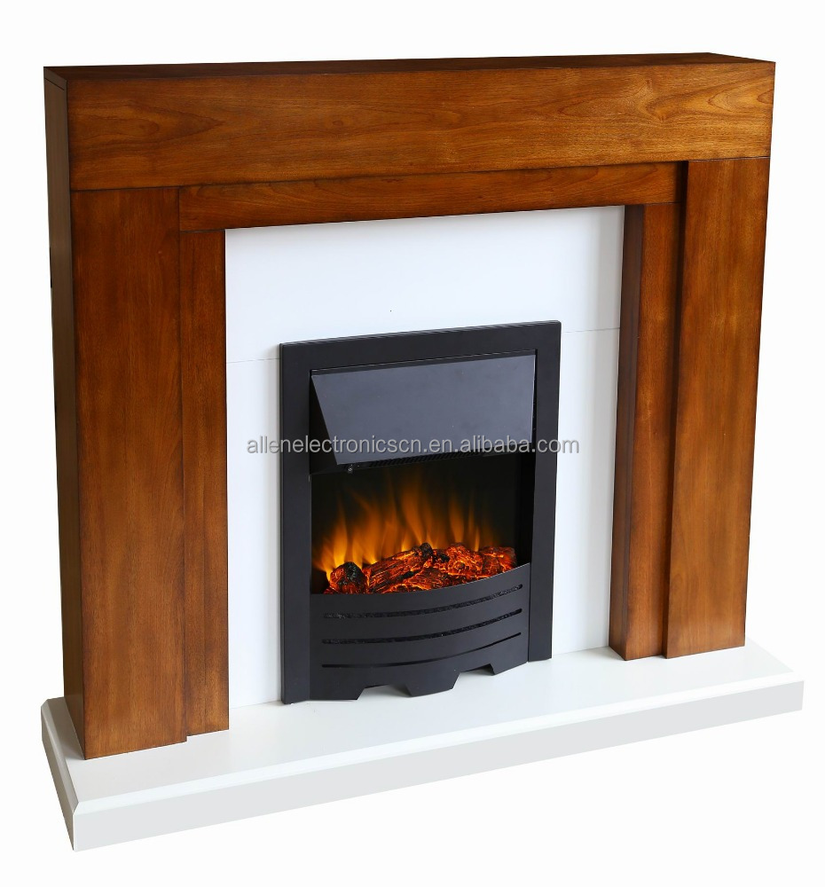 Electric Oak Wood Surround White Hearth & Back Panel Modern LED Flame Fire Wall Fireplace Suite 48""