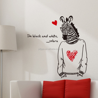 Personalized dormitory bedroom bedside decorative animal zebra man removable wall stickers