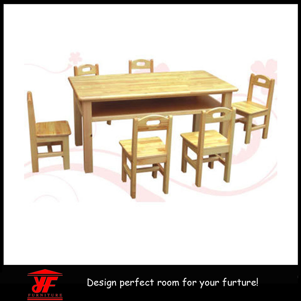 Wooden Pj School Cafe Kids Furniture Kids Study And Dining Table Chair