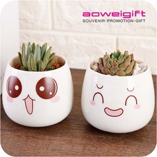 Hot Sale Modern Indoor Mini White Cartoon Ceramic Flower Pots
