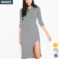 Hot Sale 2015 Sexy Jersey Fashion Stripe Knit Bodycon Dress Woman
