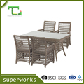 Aluminium rattan wicker dining table chair set