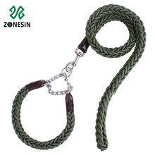 Fashion Military Green Braided Strong Nylon Army Dog Training Collar Chain Leads