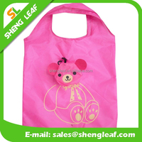 Fashion polyester shopping bag cartoon cute folding tote bag