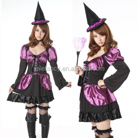 Girls Colorful Tatter Witch Queen Witch Fancy Dress Costume and Hat QAWC-2548