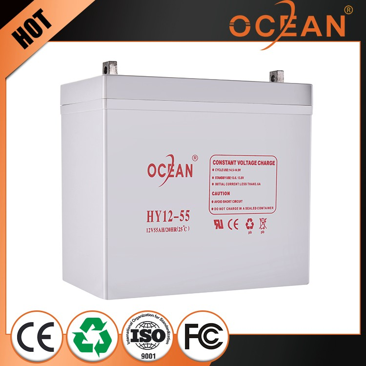 Economic recyclability special design 12V 55ah OPZS solar battery