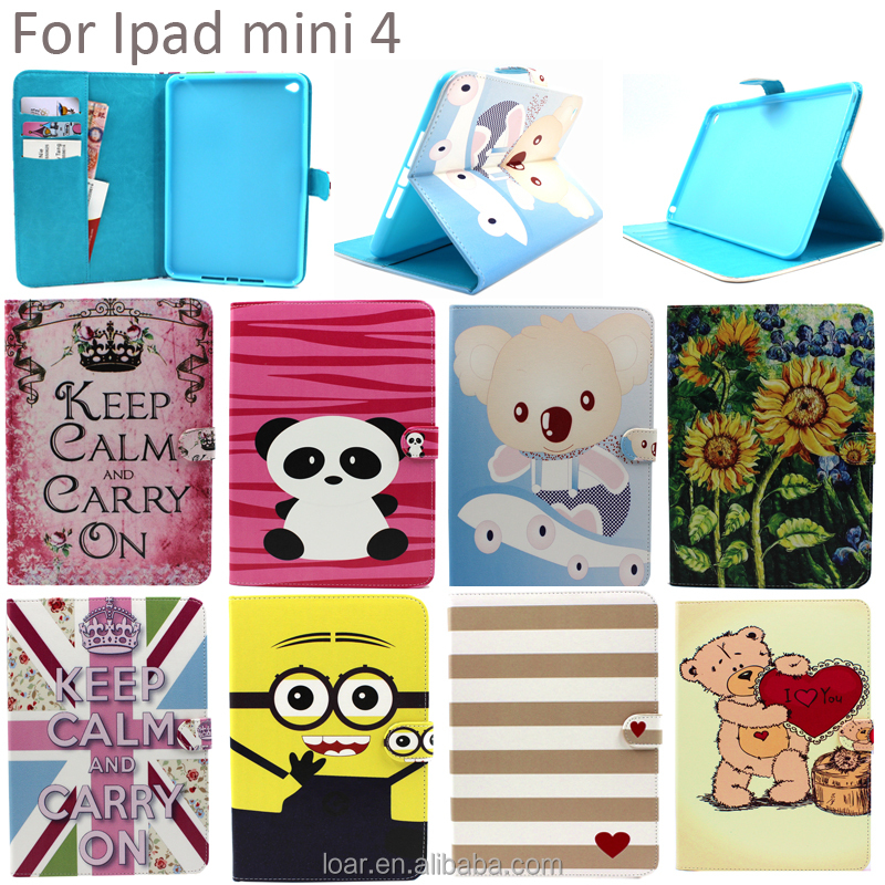 Cute Pink Lovely Panda Patterns Pu Leather Case For Ipad Mini 4 Cover For Gilrs