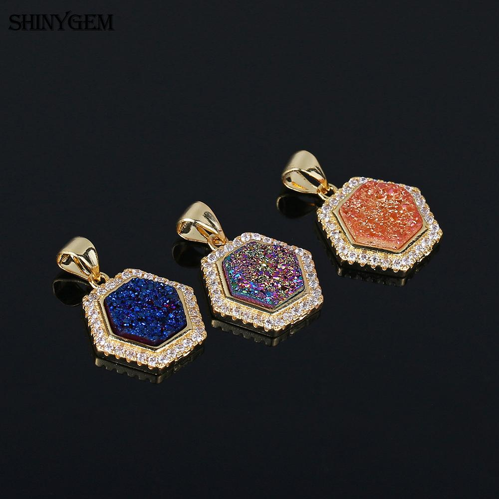 Hexagon shape mirco pave cz 18k gold plated copper accessories natural druzy pendant charms for jewelry making