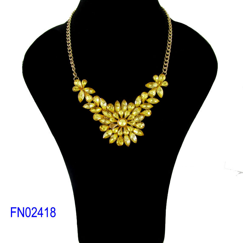 Sunshine wholesale fashion jewelry necklace crystal statement necklace