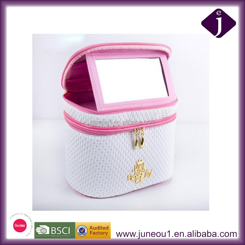 Multi-layer large capacity cylindrical cosmetic bag Multifunctional storage bag with a mirror