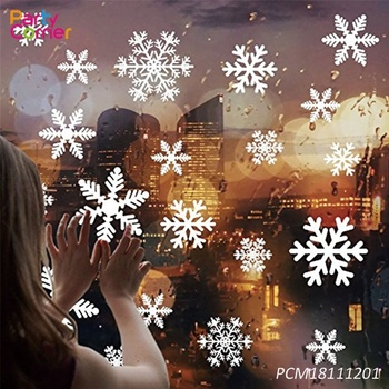 White Snowflakes Window Clings Decal Stickers Christmas Winter Decorations Ornaments Party Supplies