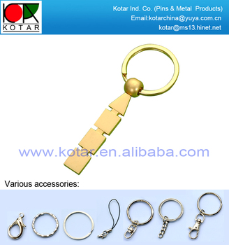 New design high quality matt gold finish promotional metal keyring