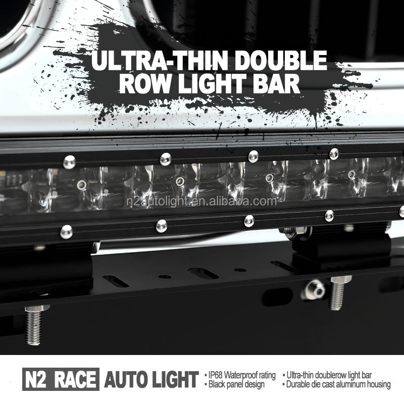 N2 Wholesale 4X4 Parts 2013 jeep wrangler light bar LED IP68 Slim Dual Row W/ 3D projector Lens