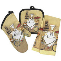 Cotton quilted heat resistant oven mitt pot holder glove and towel 3pcs kitchen set pot holder