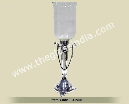 Glass Hurricane--Glass Hurricane on stand with Pewter Finish