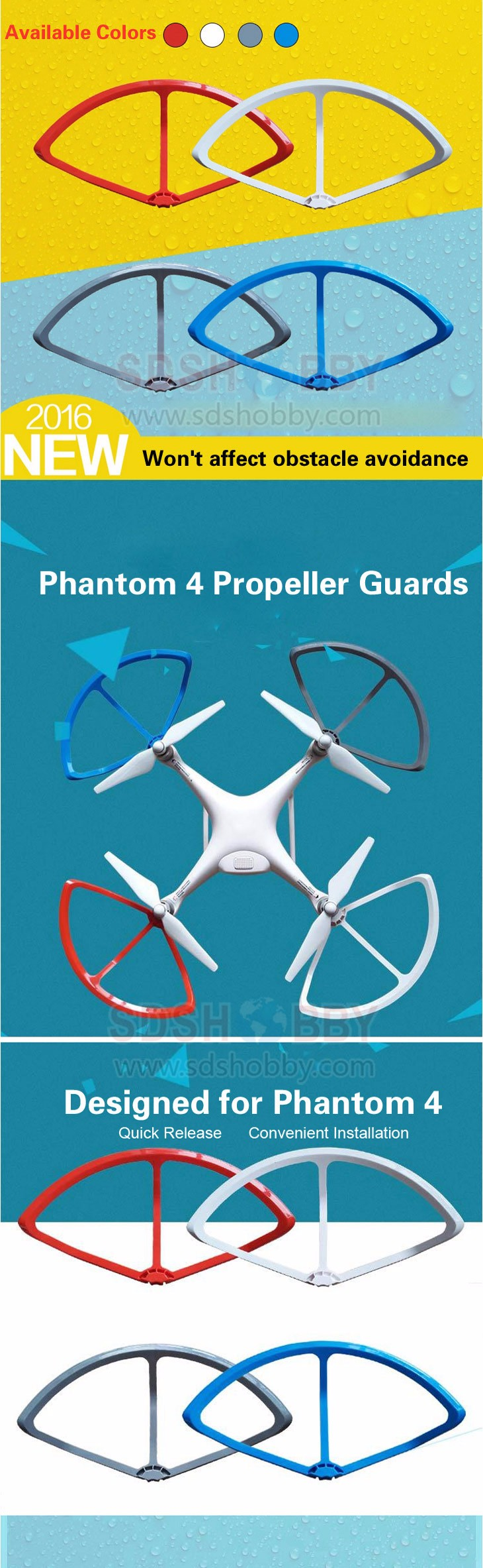 1set New Phantom 4 Quick-release Propeller Guards Protectors Shielding Rings Bumpers for DJI Phantom4/PRO/PRO+ Fortress Design