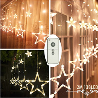 Rechargeable Battery Operated Curtain Lights with Remote Timer,138 LED 12 Star Window Icicle Lights(included 3 Li-ion Battery)