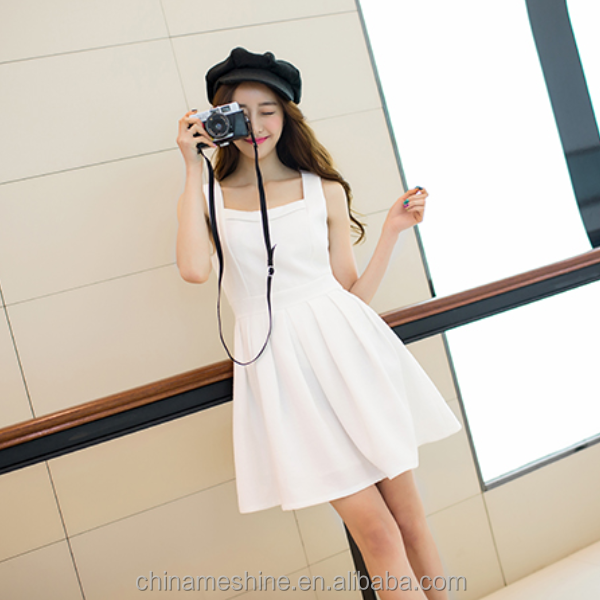 MS70181L 2015 Korea style pure color high waist girls suspender sweet dress