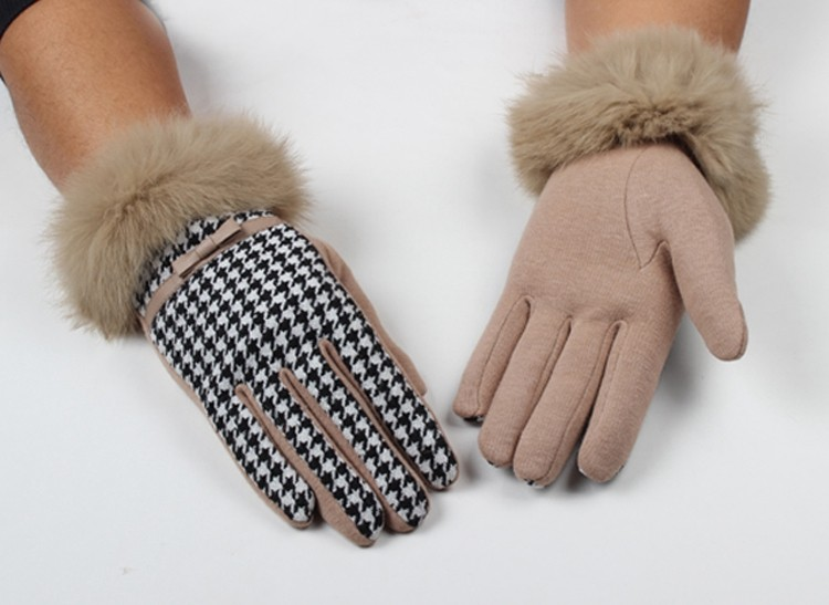 Ladies warm women winter wool fashion touch screen gloves with lace and bow