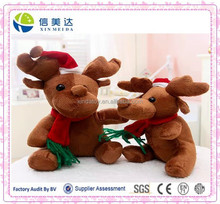 Hot Selling Handmade Plush Reindeer Christmas Ornament Toy