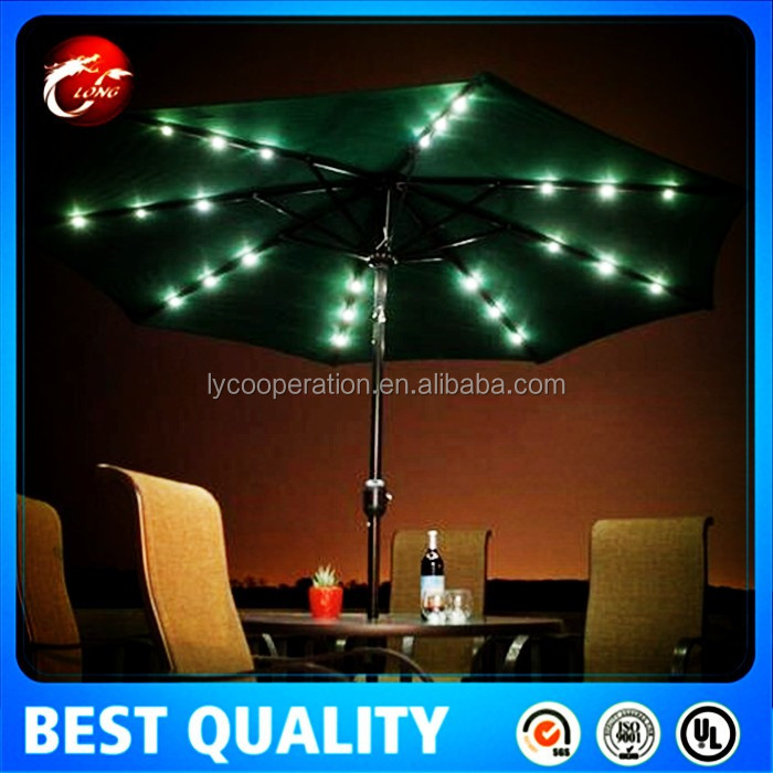 3.0m solar charge garden patio umbrella with led light
