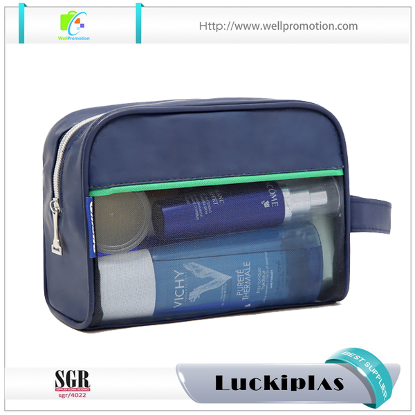 Zippered pouch Large PU and nylon mesh cosmetic make up bag
