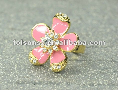 Gold Plated Colored Flower Ring