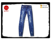 Spring new male jeans Slim skinny pencil pants feet long pants buttom fringed destroyed jeans pants for men boy