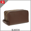 Luxurious Double Zip Leather Washbag Men's Toiletry Bag with spacious compartments and a carry strap