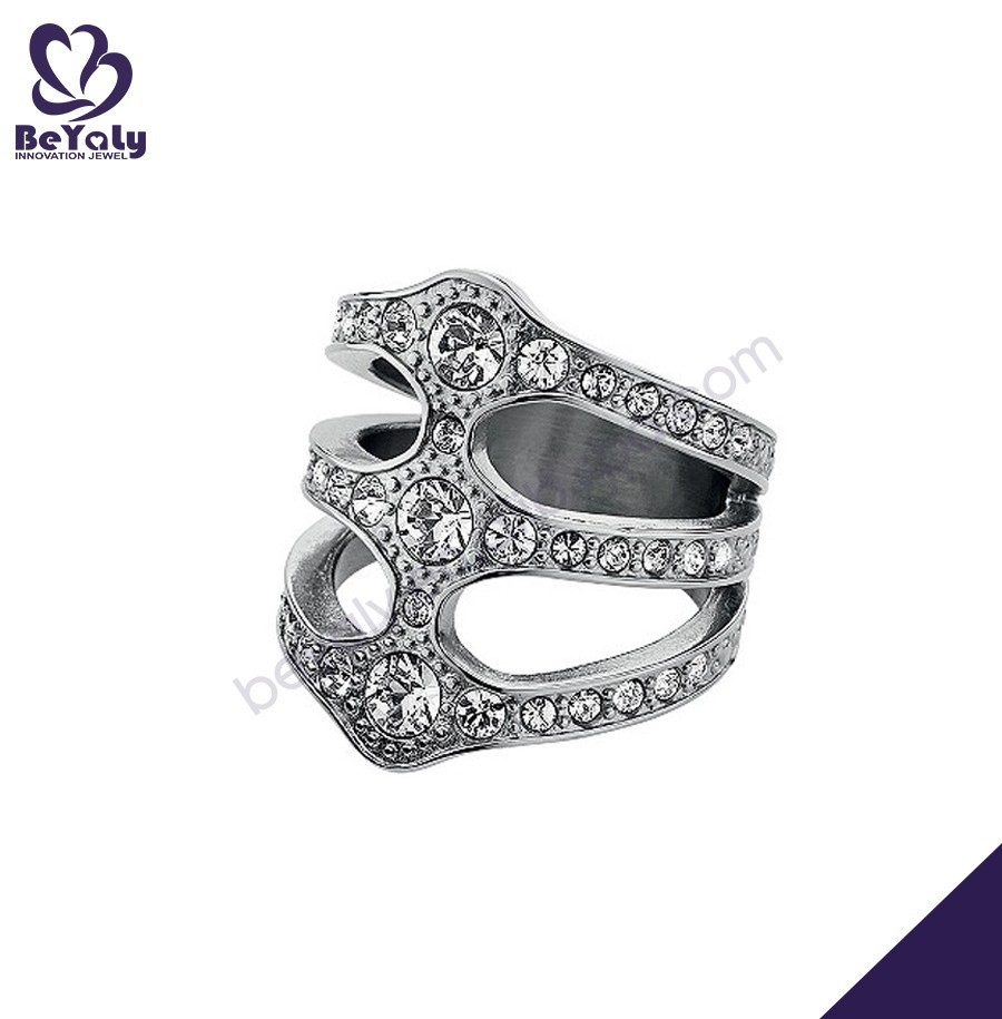 Fashion hollow silver stretch beautiful zircon ring