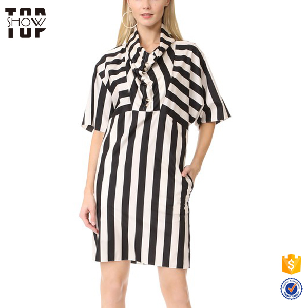 OEM alibaba best sellers half-placket black and white striped i ladies dresses