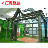 Aluminium panel glass house outdoor garden green sunroom with sliding door and windows for sale