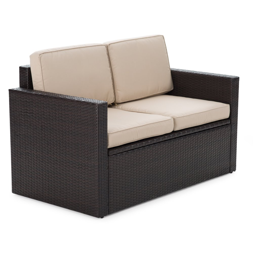 Outdoor Wicker Storage Loveseat with Cushions