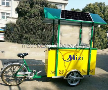 12v BATTERY POWERED PORTABLE MOBILE ICE CREAM FREEZER with Moto powered tricycle