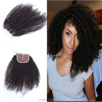 Cheap afro kinky curl lace closure 4*4 free part for black woman