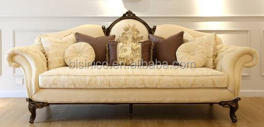 Vintage American Elegant Embroidery Fabric Sofa Set In Living Room/ Noble Palace Wooden Carving Sofa Reliner