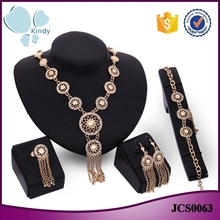 Gold plated zinc alloy tassel necklace indian bridal jewelry sets jodha akbar jewelry set