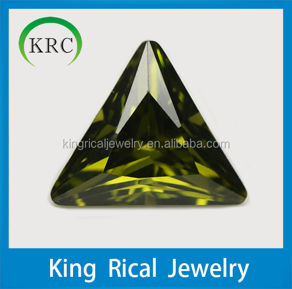 olive color trillion shape cubic zirconia loose gemstone for jewelry
